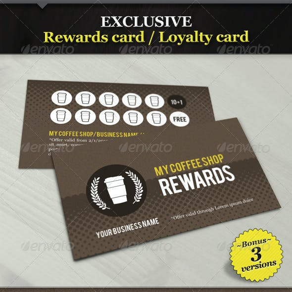 Coffee Shop Rewards Card / Loyalty Card