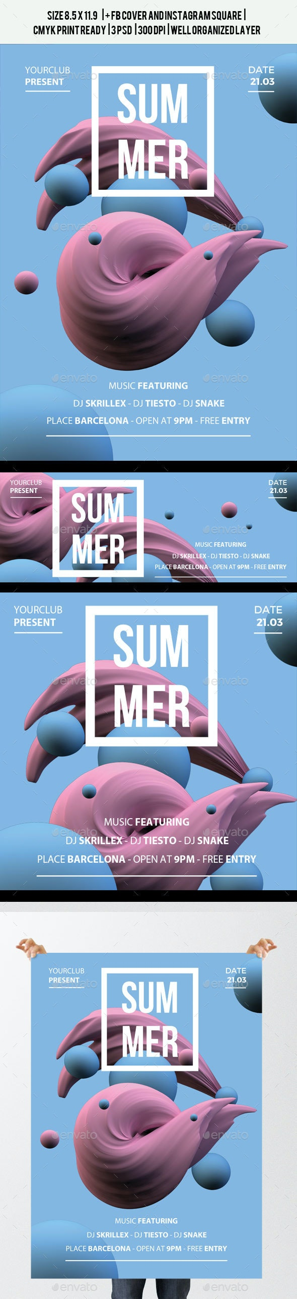 Geometry Summer Flyer + FB and Instagram  - Clubs & Parties Events