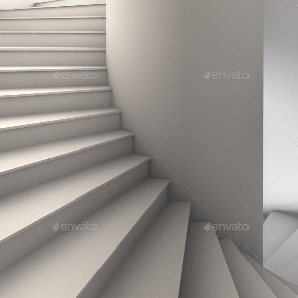 3D Illustration of a Simple White Spiral Staircase