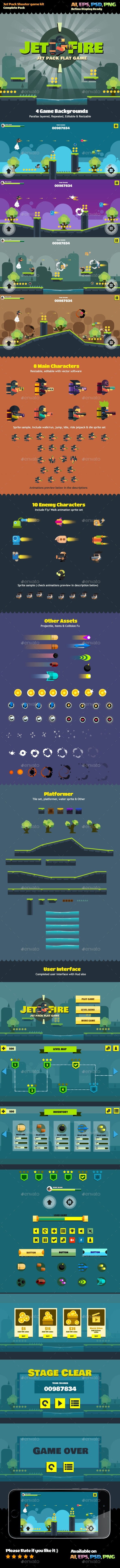 Flat Jetpack - Game Kits Game Assets