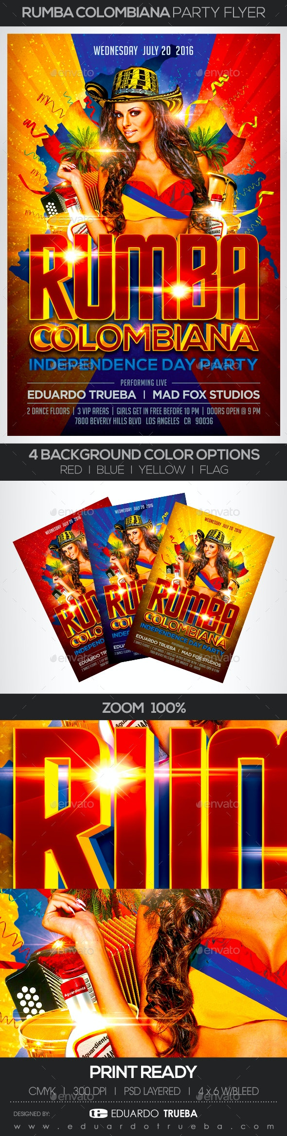 Rumba Colombiana Independence Day Party Flyer