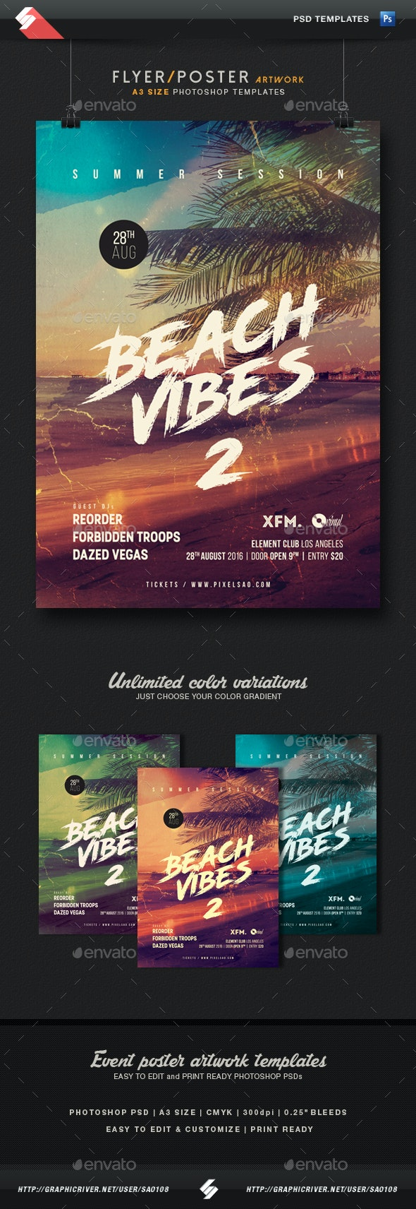 Beach Vibes 2 - Summer Party Flyer / Poster Template A3   - Clubs & Parties Events