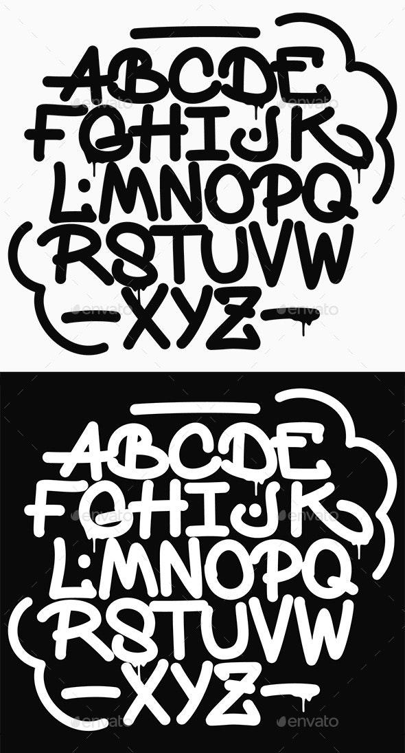 Graffiti Font Alphabet - Miscellaneous Vectors