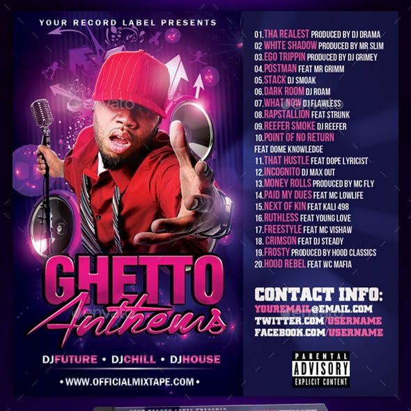 Mixtape CD Cover Template | Ghetto Anthems