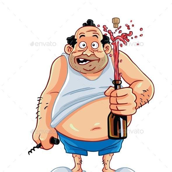 Fat Man Opening Champagne Bottle