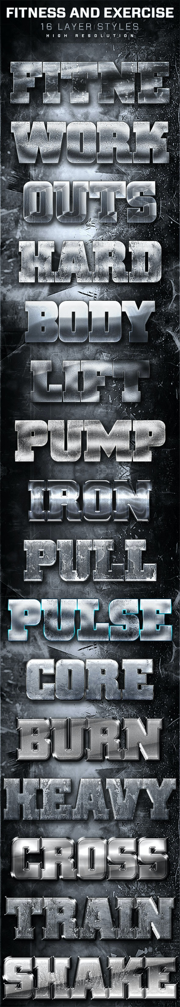 16 Fitness And Exercise Layer Styles - Text Effects Styles