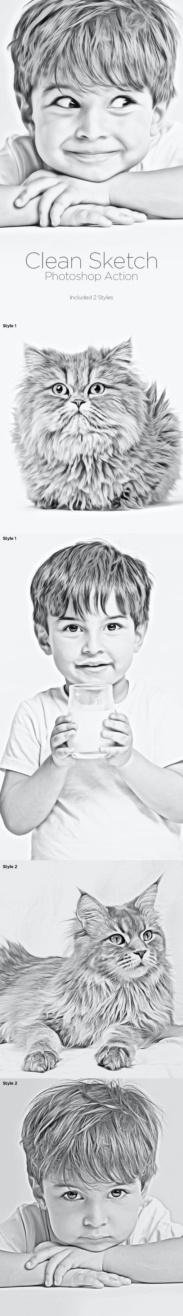 Clean Sketch - Photoshop Action - Photo Effects Actions