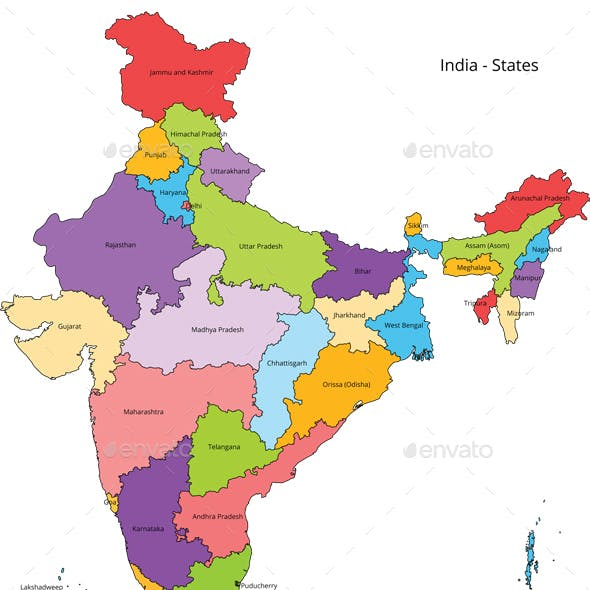 India States Map and Outline