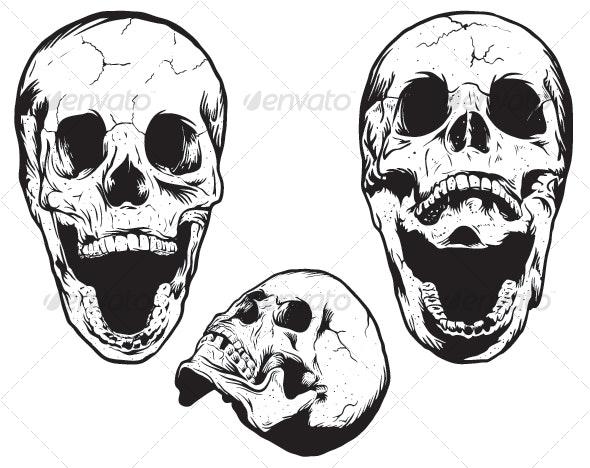 Hand Drawn Skulls - Characters Vectors