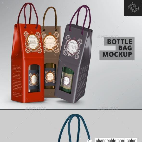 Rope Handle Wine Paper Bag Mockup