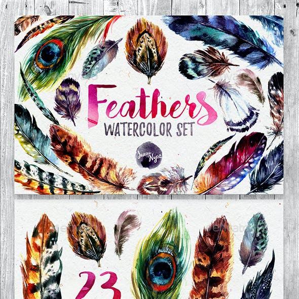 Watercolor Boho Feathers DIY Set
