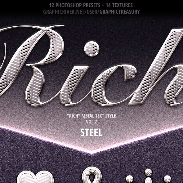 """Rich"" Metal Text Style — Vol 2 ""Steel"""