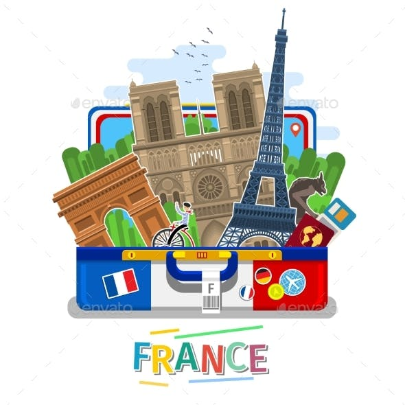 Concept of Travel or Studying French