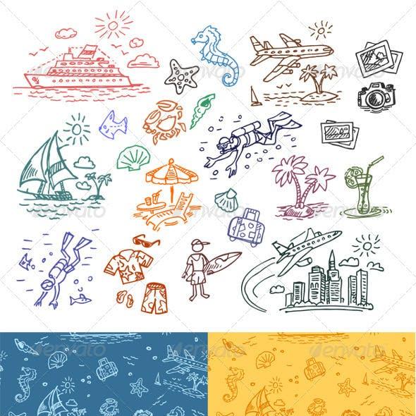 Hand drawn illustrations set and seamless pattern