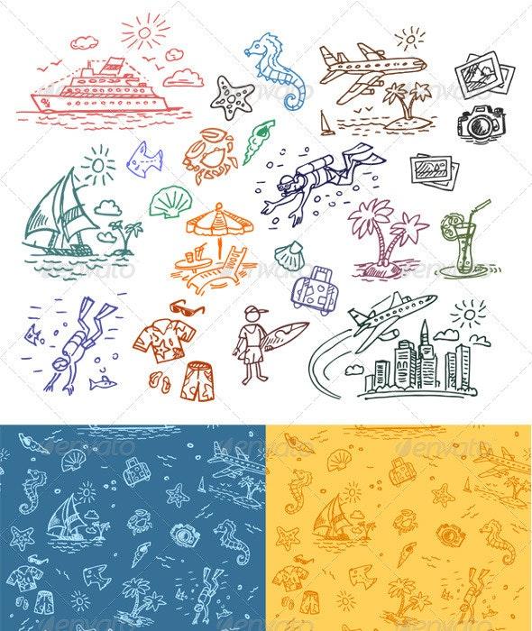 Hand drawn illustrations set and seamless pattern - Patterns Decorative