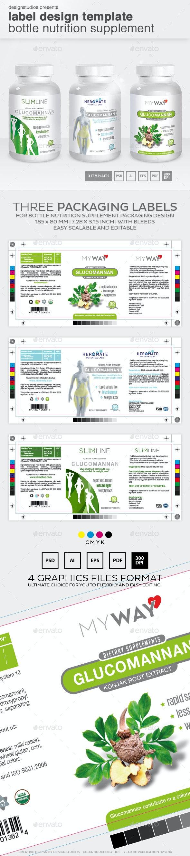 Label Design Template Bottle Nutrition Supplement - Packaging Print Templates