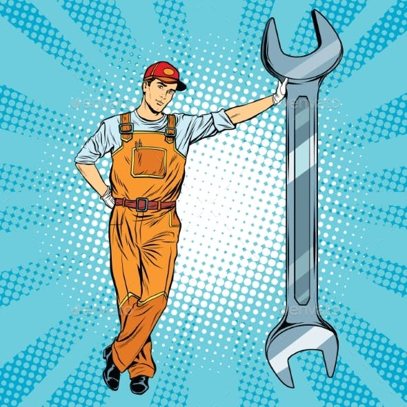 Mechanic with a Wrench