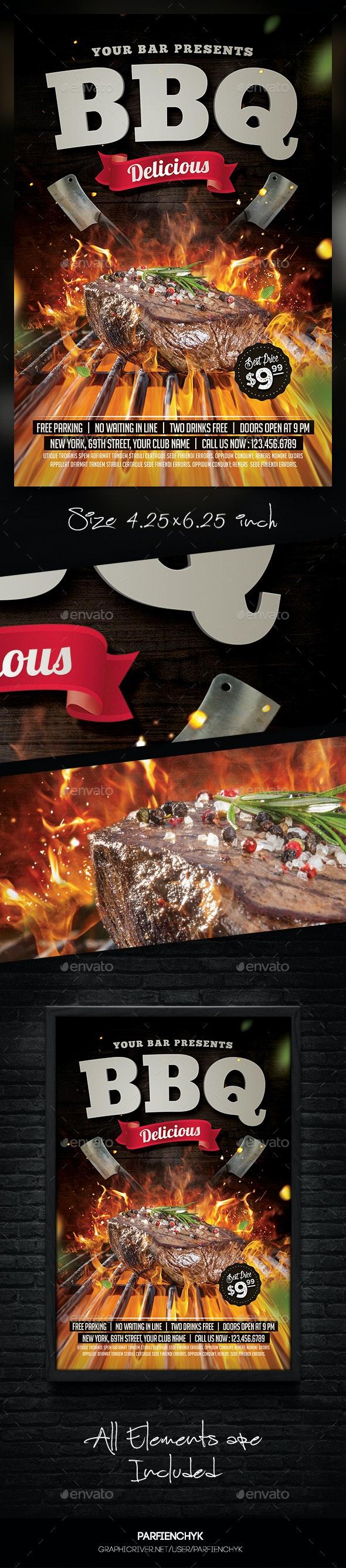 Steak BBQ Flyer Template - Restaurant Flyers
