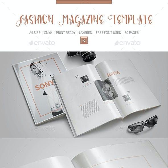 Fashion InDesign Magazine Template