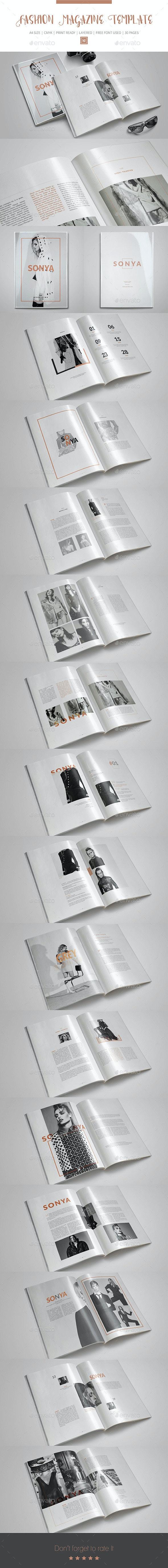 Fashion InDesign Magazine Template - Magazines Print Templates