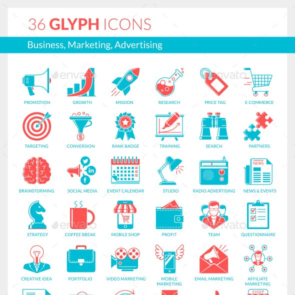 Business, Marketing, Advertising Icons (blue and red)
