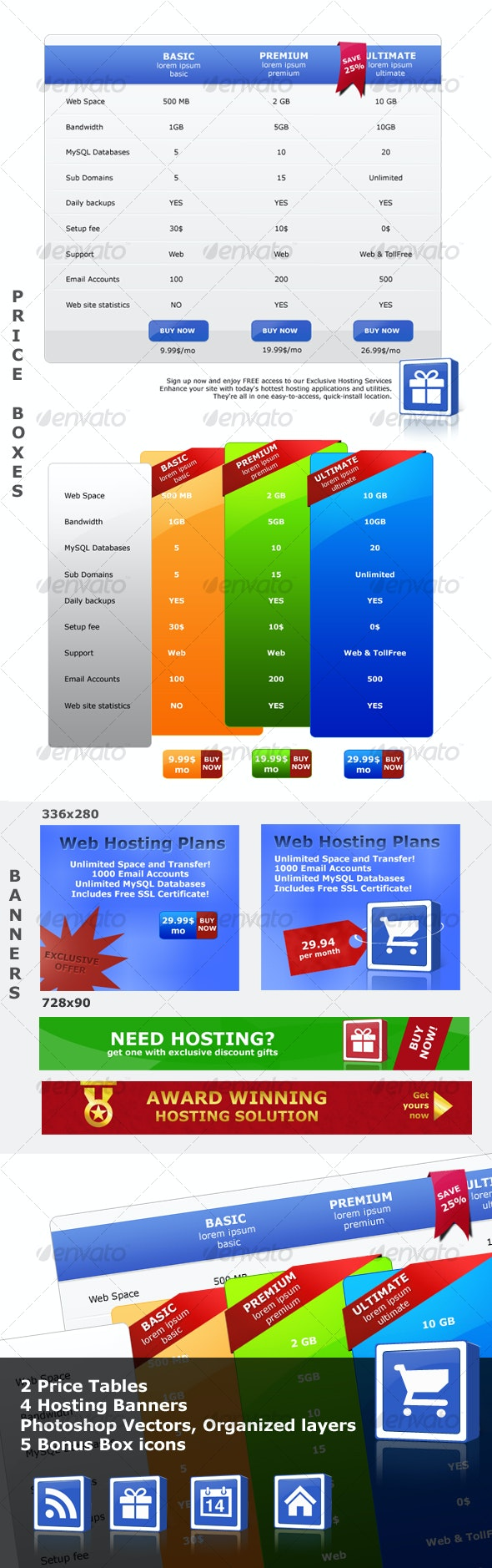 Price Tables with Hosting banners - Web Elements
