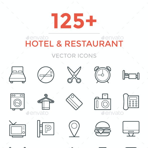 125+ Hotel and Restaurant Icons