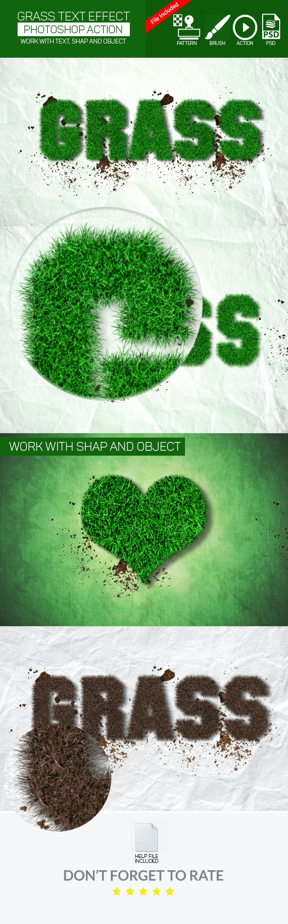 Realistic Grass Effect Action - Text Effects Actions