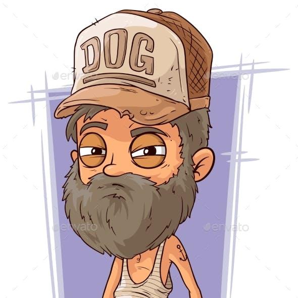 Cartoon Old Sad Homeless Man
