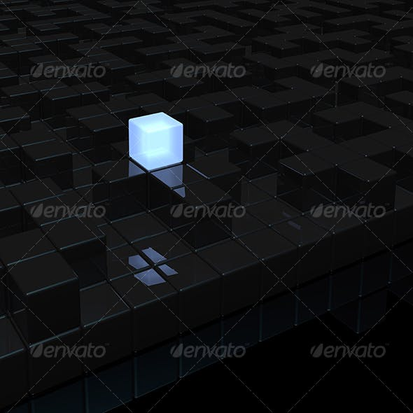 black labyrinth and light cube