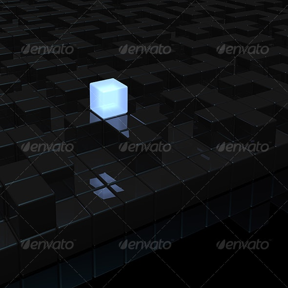 black labyrinth and light cube - 3D Backgrounds