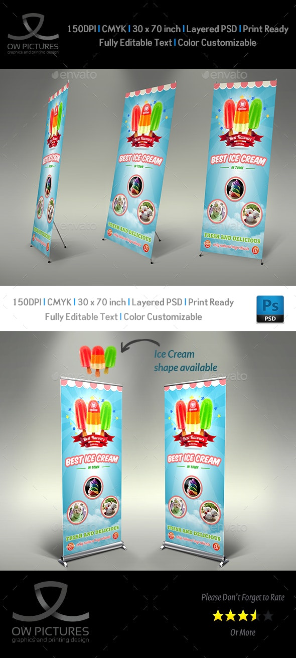 Ice Cream Rollup Signage Template Vol.5 - Signage Print Templates