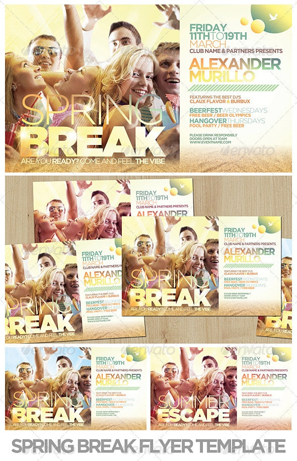 Spring Break / Summer Flyer Template - Clubs & Parties Events