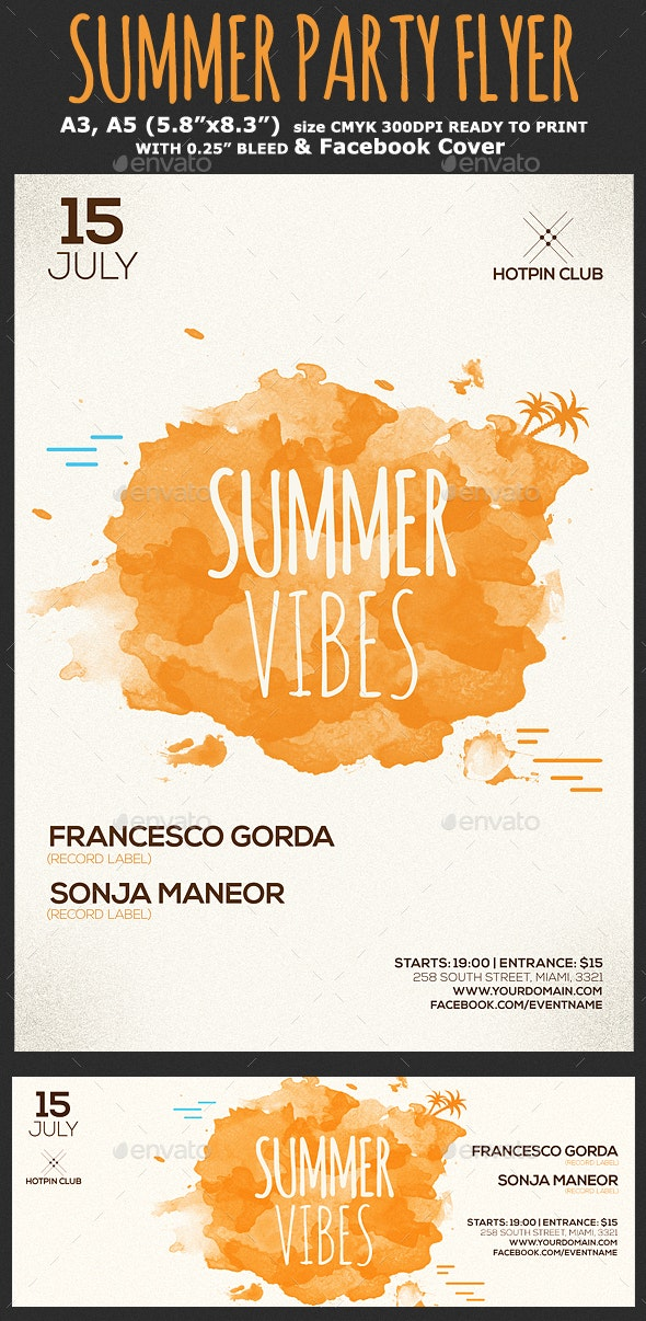 Summer Party Flyer Template - Clubs & Parties Events