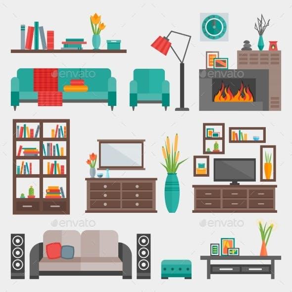 Flat Furniture Interior Icon Set
