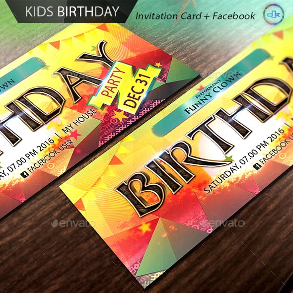 Kids Birthday Invitation Card + Facebook Cover