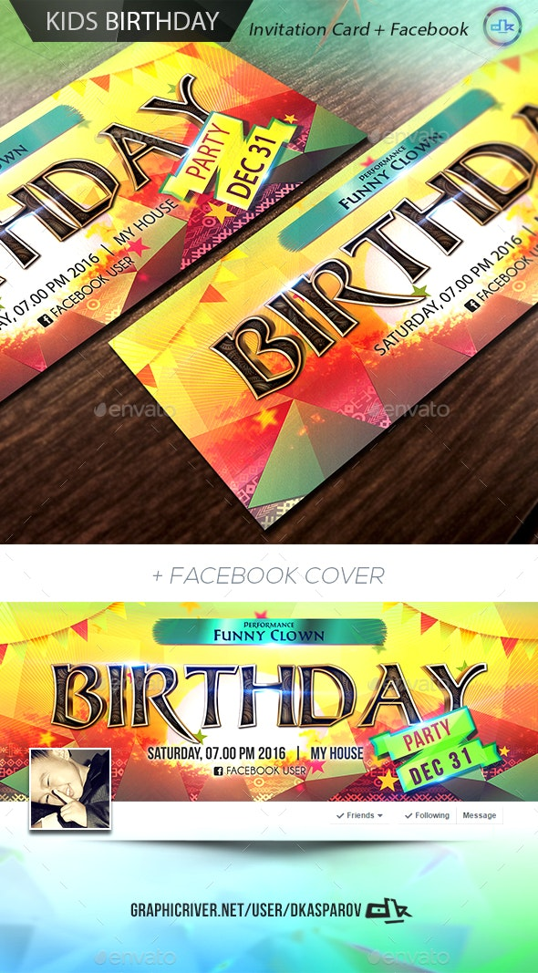 Kids Birthday Invitation Card + Facebook Cover - Birthday Greeting Cards