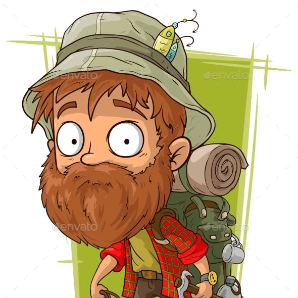 Cartoon Bearded Man with Rope and Piolet