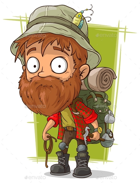Cartoon Bearded Man with Rope and Piolet - Landscapes Nature