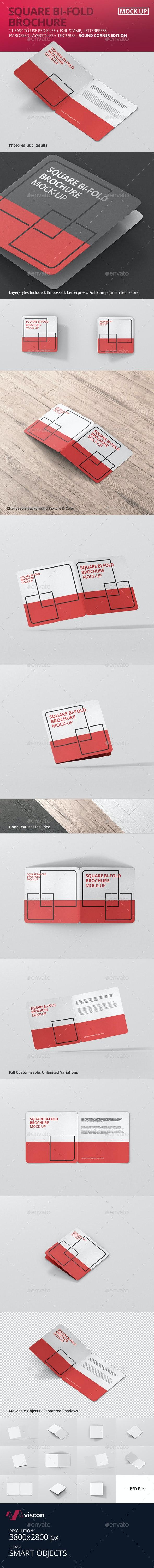 Square Bi-Fold Brochure Mock-Up - Round Corner - Brochures Print