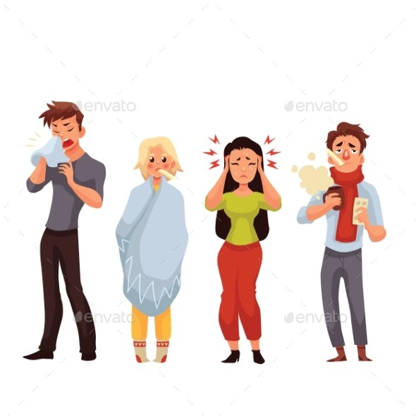 Set of Sick People Cartoon Style