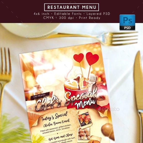 Food Restaurant Menu
