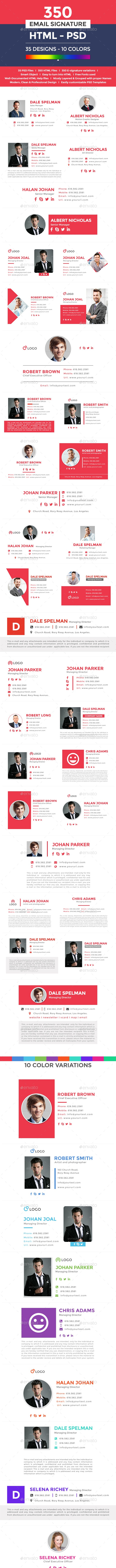 350 Email Signature Templates - HTML Files Included - Miscellaneous Social Media