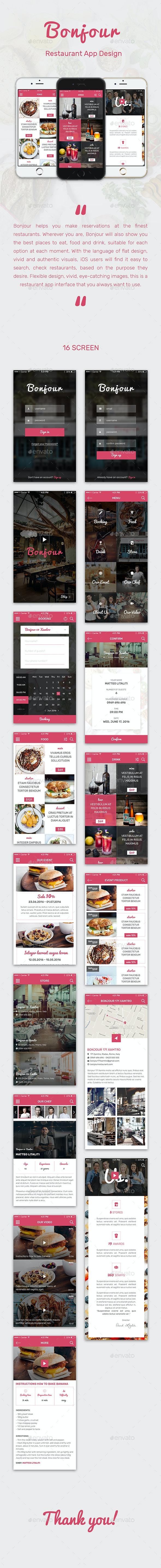 Bonjour Restaurant Mobile App - User Interfaces Web Elements