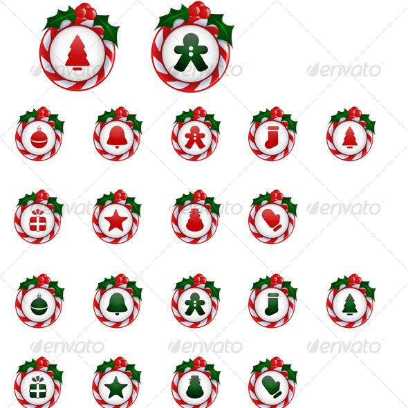 18 Christmas Icons / Buttons with Candy Cane Holly