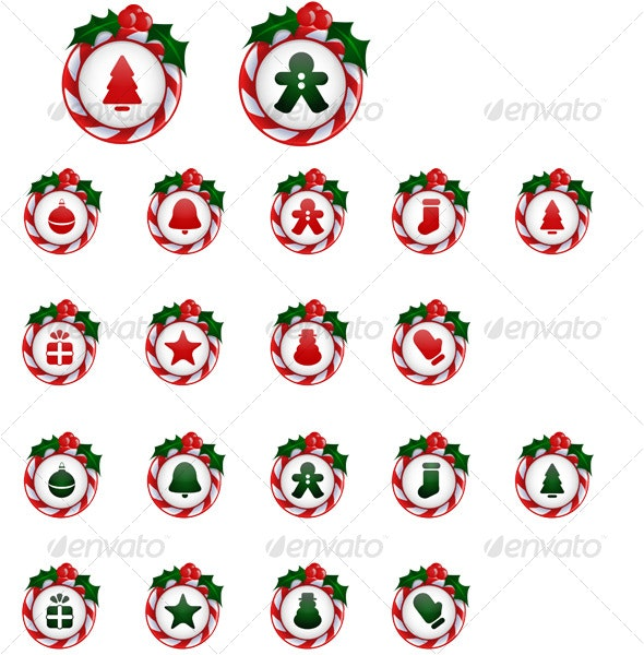 18 Christmas Icons / Buttons with Candy Cane Holly - Seasonal Icons