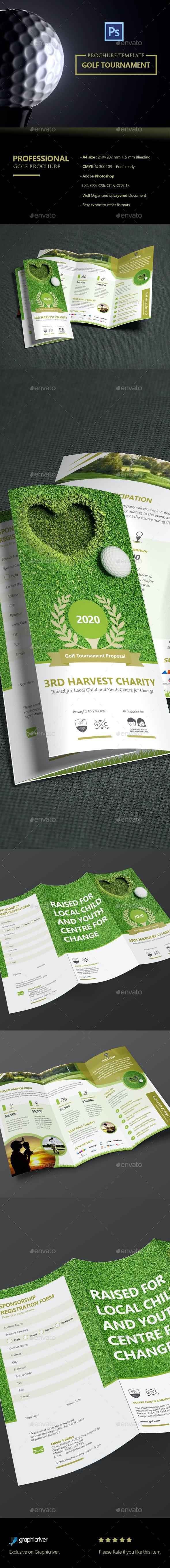 Clean Trifold Golf Tournament Brochure  - Informational Brochures