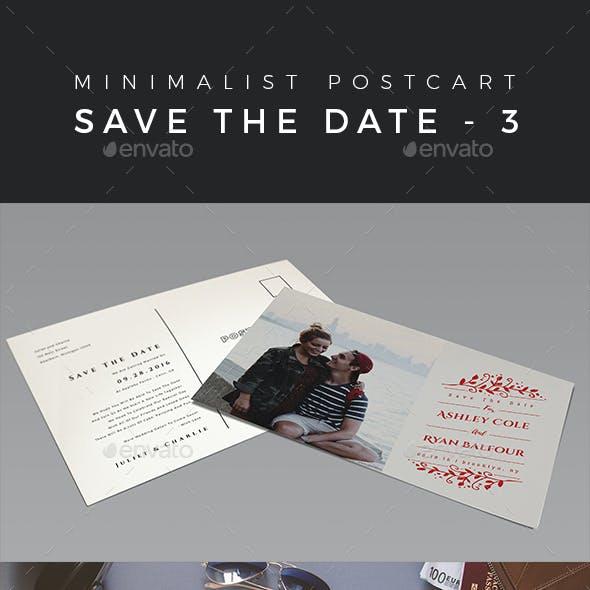 Minimalist Save The Date Postcard   Volume 3