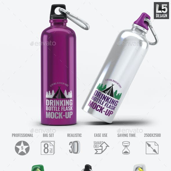 Drinking Bottle Flask Mock-Up