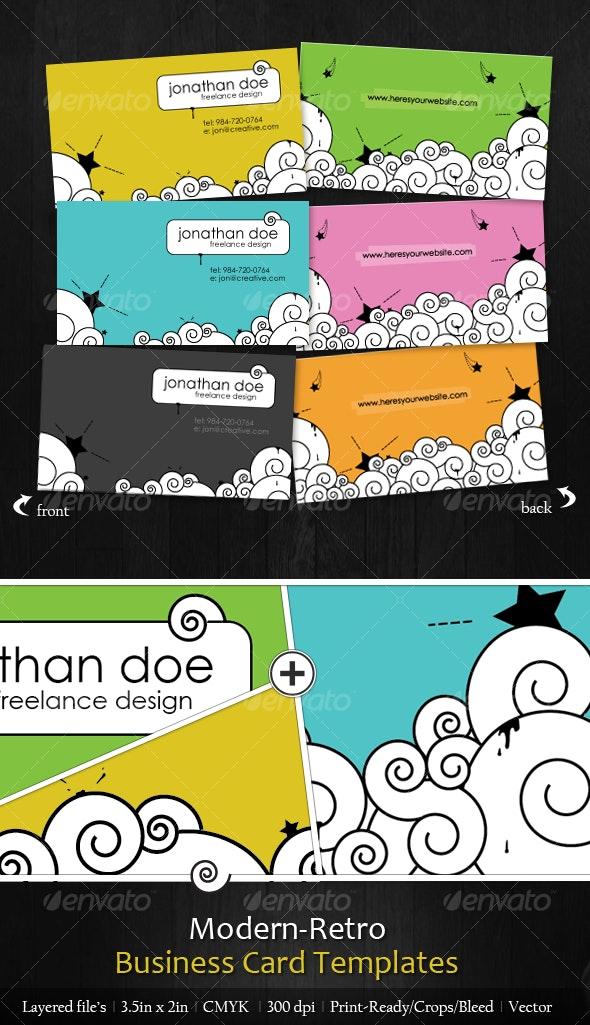 Modern-Retro Business Card Design - 6 Colors - Creative Business Cards